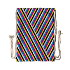 Lines Chevron Yellow Pink Blue Black White Cute Drawstring Bag (small) by Mariart