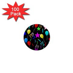 Party Pattern Star Balloon Candle Happy 1  Mini Magnets (100 Pack)  by Mariart