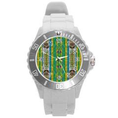 Rainbows Rain In The Golden Mangrove Forest Round Plastic Sport Watch (l) by pepitasart