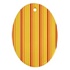 Red Orange Lines Back Yellow Oval Ornament (two Sides) by Mariart