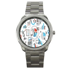 Science Mathematics Formula Sport Metal Watch by Mariart