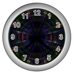 Psychic Color Circle Abstract Dark Rainbow Pattern Wallpaper Wall Clocks (silver)  by Mariart