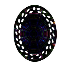 Psychic Color Circle Abstract Dark Rainbow Pattern Wallpaper Oval Filigree Ornament (two Sides) by Mariart