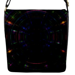 Psychic Color Circle Abstract Dark Rainbow Pattern Wallpaper Flap Messenger Bag (s) by Mariart