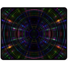 Psychic Color Circle Abstract Dark Rainbow Pattern Wallpaper Double Sided Fleece Blanket (medium)  by Mariart