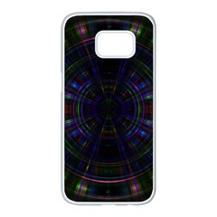 Psychic Color Circle Abstract Dark Rainbow Pattern Wallpaper Samsung Galaxy S7 Edge White Seamless Case by Mariart