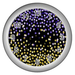 Space Star Light Gold Blue Beauty Wall Clocks (silver)  by Mariart