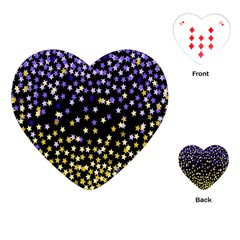 Space Star Light Gold Blue Beauty Playing Cards (heart)  by Mariart