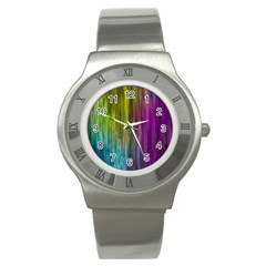 Rainbow Bubble Curtains Motion Background Space Stainless Steel Watch by Mariart