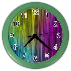 Rainbow Bubble Curtains Motion Background Space Color Wall Clocks by Mariart