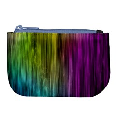 Rainbow Bubble Curtains Motion Background Space Large Coin Purse by Mariart