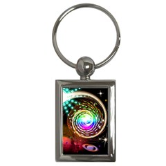 Space Star Planet Light Galaxy Moon Key Chains (rectangle)  by Mariart