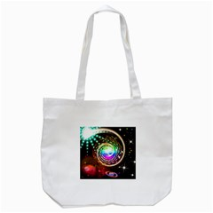 Space Star Planet Light Galaxy Moon Tote Bag (white) by Mariart