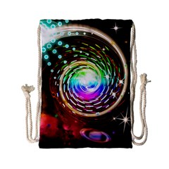 Space Star Planet Light Galaxy Moon Drawstring Bag (small) by Mariart