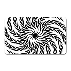 Spiral Leafy Black Floral Flower Star Hole Magnet (rectangular) by Mariart