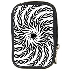 Spiral Leafy Black Floral Flower Star Hole Compact Camera Cases by Mariart