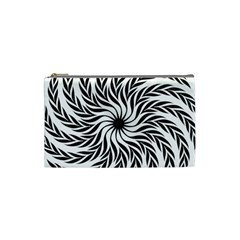 Spiral Leafy Black Floral Flower Star Hole Cosmetic Bag (small)  by Mariart