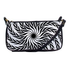 Spiral Leafy Black Floral Flower Star Hole Shoulder Clutch Bags by Mariart