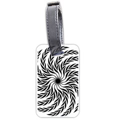 Spiral Leafy Black Floral Flower Star Hole Luggage Tags (one Side)  by Mariart