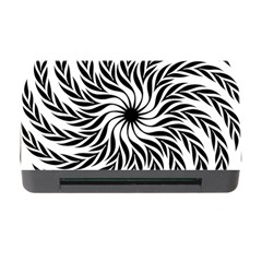 Spiral Leafy Black Floral Flower Star Hole Memory Card Reader With Cf by Mariart
