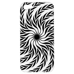 Spiral Leafy Black Floral Flower Star Hole Apple Iphone 5 Hardshell Case by Mariart