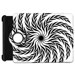 Spiral Leafy Black Floral Flower Star Hole Kindle Fire Hd 7  by Mariart