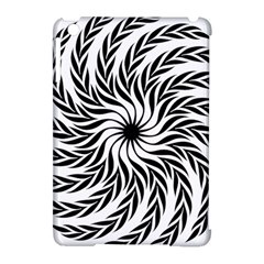 Spiral Leafy Black Floral Flower Star Hole Apple Ipad Mini Hardshell Case (compatible With Smart Cover) by Mariart