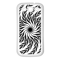 Spiral Leafy Black Floral Flower Star Hole Samsung Galaxy S3 Back Case (white) by Mariart