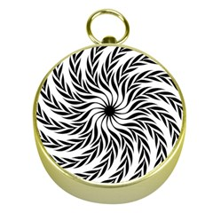 Spiral Leafy Black Floral Flower Star Hole Gold Compasses by Mariart
