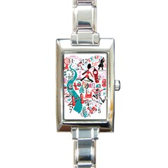 London Illustration City Rectangle Italian Charm Watch by Mariart