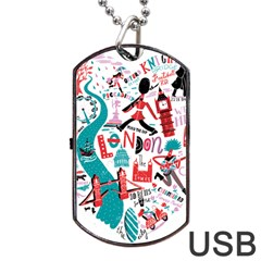 London Illustration City Dog Tag Usb Flash (one Side) by Mariart