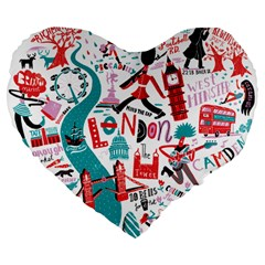 London Illustration City Large 19  Premium Flano Heart Shape Cushions by Mariart
