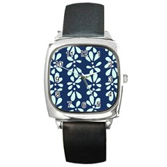 Star Flower Floral Blue Beauty Polka Square Metal Watch by Mariart