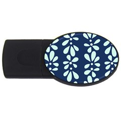 Star Flower Floral Blue Beauty Polka Usb Flash Drive Oval (4 Gb) by Mariart