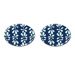 Star Flower Floral Blue Beauty Polka Cufflinks (oval) by Mariart