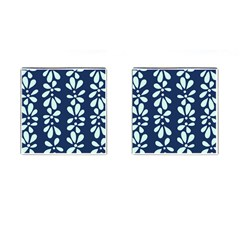 Star Flower Floral Blue Beauty Polka Cufflinks (square) by Mariart