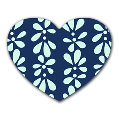 Star Flower Floral Blue Beauty Polka Heart Mousepads by Mariart