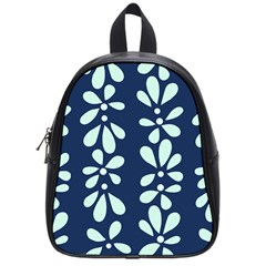 Star Flower Floral Blue Beauty Polka School Bag (small) by Mariart