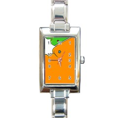 Star Line Orange Green Simple Beauty Cute Rectangle Italian Charm Watch by Mariart