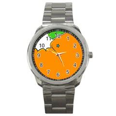 Star Line Orange Green Simple Beauty Cute Sport Metal Watch by Mariart