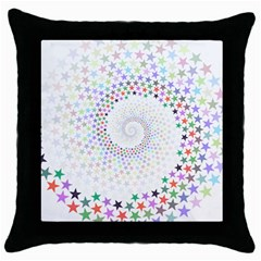 Prismatic Stars Whirlpool Circlr Rainbow Throw Pillow Case (black) by Mariart