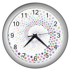 Prismatic Stars Whirlpool Circlr Rainbow Wall Clocks (silver)  by Mariart