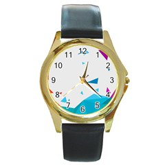 Triangle Chevron Colorfull Round Gold Metal Watch by Mariart