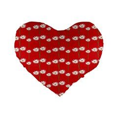 Sunflower Red Star Beauty Flower Floral Standard 16  Premium Heart Shape Cushions by Mariart