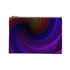 Striped Abstract Wave Background Structural Colorful Texture Line Light Wave Waves Chevron Cosmetic Bag (large)  by Mariart