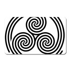 Triple Spiral Triskelion Black Magnet (rectangular) by Mariart