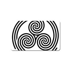 Triple Spiral Triskelion Black Magnet (name Card) by Mariart