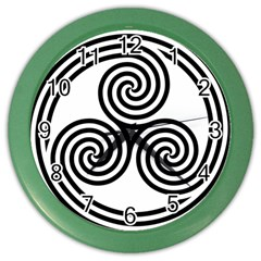 Triple Spiral Triskelion Black Color Wall Clocks by Mariart