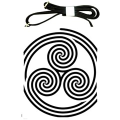 Triple Spiral Triskelion Black Shoulder Sling Bags by Mariart