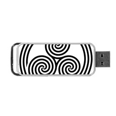Triple Spiral Triskelion Black Portable Usb Flash (two Sides) by Mariart